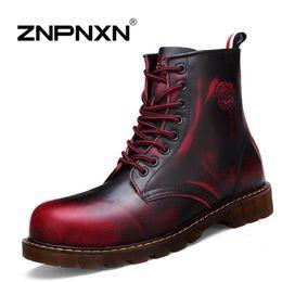 [ZNPNXNShoes] 2015 New Women Men Ankle Boots Red Lace Up Genuine Leather Cowboy Boots Men Women 4 Color