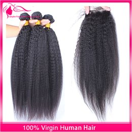 Indian Coarse Yaki Kinky Straight Top Closure With Hair Bundles Natural Color Hair Cheap 3 Bundles Virgin Hair With Lace Closure 4Pcs Lot