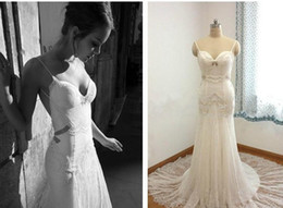 2019 Wedding Dresses Bridal Inbal Dror Real Image Lace Appliques Beaded Pleats Straps Sweep Train Backless Mermaid Trumpet Wedding gowns