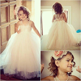 Wholesale 2015 Princess Dresses Beautiful Girls Dress For Wedding Flower Dresses Jewel Neckline Floor Length Sleeveless Lovely Pageant Gown Party Gown