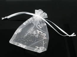 Wholesale-2015 New Fashion 50 White Butterfly Organza Wedding Gift Bags&Pouches 16x13cm Jewelry Bags