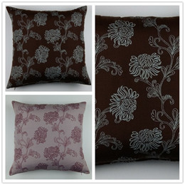 Wholesale Foral Jacquard Cushion Cover Ikea Polyester Pillow Cover Brown Lilac colour For Home Decorative And Sofa Drop Shipping