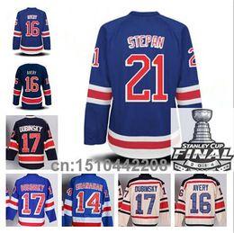 Wholesale Brandon Dubinsky New York Ranger Jersey Derek Stepan Sean Avery Brendan Shanahan Ice Hcokey Jersey Champions Patch
