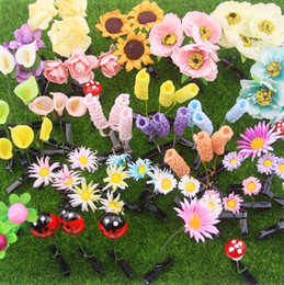 Wholesale 16 Design Cute plant hairpin grass hairpin The mushroom hair clips Small bean sprouts hairpin simulation plants children hair clips