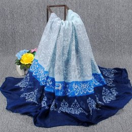 Wholesale New fashion classic Chinese wind blue and white porcelain long scarf voile scarf spring of new listings DHL