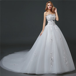 Shanghai story Lace Train Wedding Dresses Strapless Corset Wedding Dress With Crystal and Beaded 2016