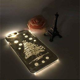 Cas transparents pour iphone 4s en Ligne-Cadeau de Noël! Lightning LED Case Pour Apple iPhone 6 Plus 5.5 pouces PC Shells Pour iphone4 4S 5S 6S 6S plus Samsung S6 S5 note4