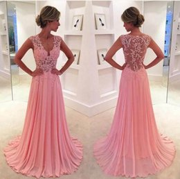 New Elegant Cap Sleeve V Neck Lace Pink Long Evening Dresses 2016 Chiffon Sheer Back Formal Prom Gowns