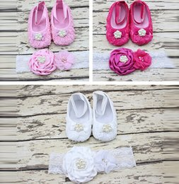 Three color options baby foot ornaments headband wholesale flowers diy head flower baby shoes 12set