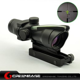 Wholesale Tactical ACOG Airsoft x32 Optical Rifle Scope With Real Green Optic Fiber and TA51 Flattop Mount Black NGA0415