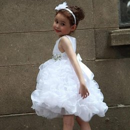 Princess White Short Crystal Ball Gown Flower Girls Dresses Knee Length Bow Scoop Party Birthday Festival Dress For Little Kids