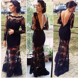 Wholesale 2015 Sheer Bateau Long Sleeves Sheath Prom Dresses Black Backless Lace Evening Dresses Formal Wedding Party Gowns Women Pageant Dress