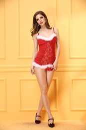 Christmas Sexy Dew waist Fashionable Red Glamour Comfortable Ladies Dress Skirt, Dew waist Suit: Dress And Thong,Santas Christmas Outfit