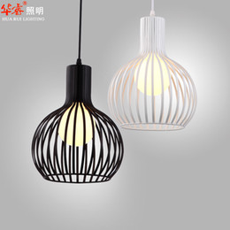 Wholesale single head white and black wrought iron Bird Cage Lamp modern wrought iron art birdcage pendant light dining room pendant light chandelier