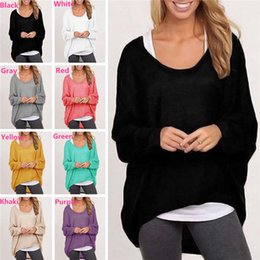 Wholesale Fashion Women s Girl s Spring Autum Tops Blouses Shirts Knit Sweater Cotton Blend Baggy Jumper Batwing Loose Pullover DX260