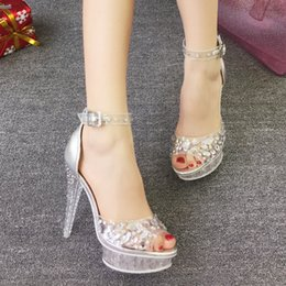 Wholesale Heat in the new fashion wedding shoes silver rhinestones high heels for women s shoes bride wedding the bride s shoes sandals