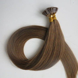 Flat tip human hair extensions 50g 50Strands 18 20 22 24inch #6 Medium Brown Brazilian Indian Pre bonded hair products