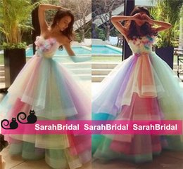 Colored Youthful Party Wear for Teens Juniors Colorful Rainbow Tulle Prom Dresses Princess Ball Style Cocktail Formal Occasion Gowns