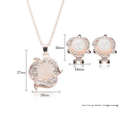 Rose Gold Plated Round Opal Crystal Pendant Necklace Earrings Jewelry Sets Fashion Women Wedding Dress Accessories Jewelry Sets