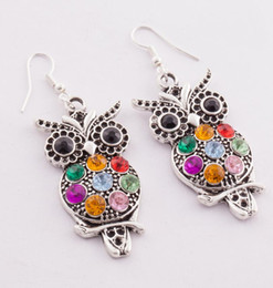 Wholesale MIC Colorful Owl Crystal Silver Fish Hooks Earrings Dangles Chandelier Jewelry E1598 Hot sell Items