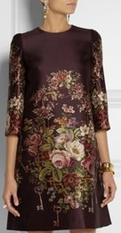 Vintage Floral And Key Printed Mini Dress Party Dresses 7595