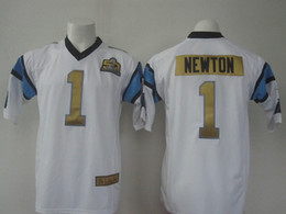 Wholesale Cam Newton Super Bowl th Football Jerseys New Arrival Gold Number Football Shirts Fashion Athletic Apparel with Super Bowl Patch