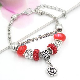 Wholesale Shamballa Bracelets Valentines Day - 3 Colors New Arrival Valentine Jewelry PDR European Bead Charms CZ Pave Disco Ball Red Crystal Shamballa Bracelet Fashion Jewelry Wholesaler