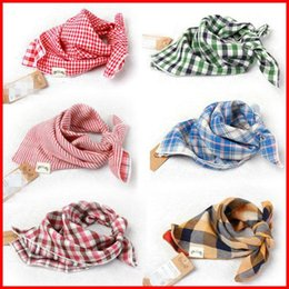 Wholesale 2016 New Baby Bandana Scarf Bibs Feeding Clear Triangle Cotton Kid Head Scarf Infant Bibs Burp Cloth Plaid Bibs Double yarn