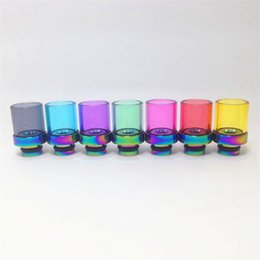 New Rainbow Glass Wide Bore Drip Tips Colorful Pyrex Glass Rainbow Stainless Steel Drip Tip for CE4 DCT velocity RDA Mod tank Atomizer