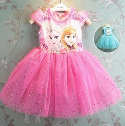 Promotion mignon cosplay fille Hot dentelle princesse Elsa Robe 2016 Robe fille mignonne Brillant Paillettes Robe Kids Party cosplay Neige Costume Reine Cartoon For Girls