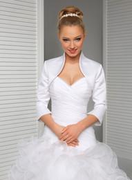 NEW WEDDING SATIN SHRUG BRIDAL BOLERO JACKET COAT 3 4 LENGTH SLEEVE