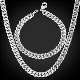 U7 Layered Curb Link Chain Necklace Bracelet Set 18K Real Gold Rose Gold Platinum Black Gun Plated 6 Sizes Fashion Men Jewelry Accessories