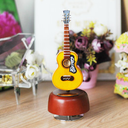 Classical Wind Up Music Box Wooden Guitar Rotating Music Box With Case