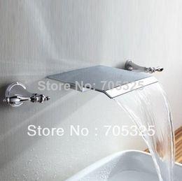 New Dual HandleWall Mounted Waterfall Bath Basin Faucet Mixer Tap Z116