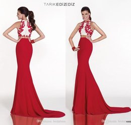 Wholesale Lace Tarik Ediz Dresses Evening Gowns Celebrity Mermaid Real Image Two Pieces Plus Size High Neck For Women White Red Elegant UM0001