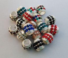 14mm Pandora Charms Big Hole Bead Spacer Bead Pave Crystal Rhinestone Fit For Pandora Jewelries 100Pcs Lot Coffee Silver Blue Colors