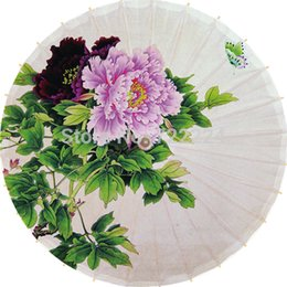Wholesale chinese colorful peony picture umbrella antique handmade blue peony dance collection props oiled paper umbrella