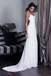 Backless Wedding Dresses Beaded Pearls Spaghetti Straps Chiffon Beach Sheath Wedding Dress Sweep Train Lace Applique Wedding Gowns