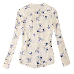 Promotion voler v Nouveau 2015 Chic femmes V-Neck manches longues chemise blusa en mousseline de soie oiseaux volants Slim Top chaud FG1511