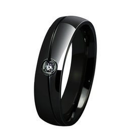6mm Fashion Stainless Steel Black Plated Couple Rings with Crystal