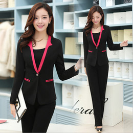 Wholesale-Autumn Formal Pant Suits for Women Work Wear Suits 5 Colors Blazer Winter 2016 Ladies Professional Office Uniform Design