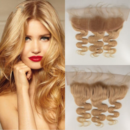 Mongolian Virgin Remy human Hair body wave lace frontal 613 blonde Top Quality 13*4 inch mongolian lace frontal closure G-EASY