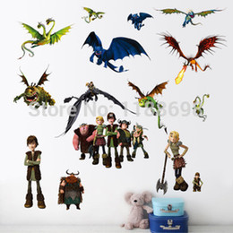 Wholesale Zooyoo1427 New How to Train Your Dragon Cartoon Wall Stickers For Kids Room Best Sell Bedroom Wall Stickers Home Decoration
