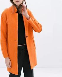 XZ200 Fashion 2016 Women Orange Woolen Coat Vintage Long Sleeve Pockets Turn-Down Collar Button Loose Outwear Casual Brand