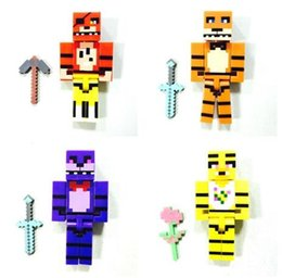 Wholesale 2 inch FNAF Figures Set Kids Bulding Blocks Freddy Fazbear Bonnie Chica Foxy Minifigures Dolls Five Nights At Freddy s DIY Model Toys