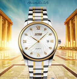 Skmei Slim Men 3 ATM Waterproof Crystal Decoation Luxury Business Quartz Wrist Watch With Date and stainless steel Strap 9101