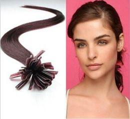 "wholesale -5A 1g s 100g pack 14''- 24"" Keratin Stick u Tip Human Hair Extensions Peruvian hair 99j# burgundy dhl Fast shipping"