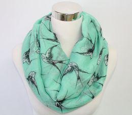 Wholesale swallow Print Infinity Scarf Bird Scarf Mint Bird Scarf Loop Scarf with flying swallows Big bird prints