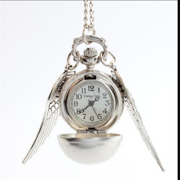 Wholesale Fashion Woman men Lady Silver Wing Silver Bronze Ball Wings Harry Potter Antique Steampunk Pocket Watch