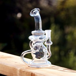 Wholesale Klein glass bong recycler oil rig dab Solid Base Siren Apparatus Klein with the slowest recylcer bong Quartz bangerTwo function